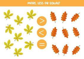 jeu de maths pour les enfants, plus, moins ou égal avec des feuilles d'automne. vecteur