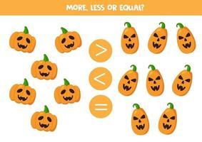 plus, moins ou égal avec des citrouilles fantasmagoriques d'Halloween. vecteur