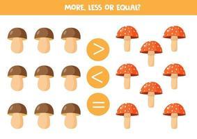jeu de maths pour les enfants, plus, moins ou égal avec des champignons forestiers. vecteur