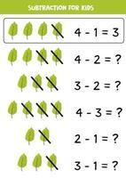 soustraction avec feuille verte. mathématiques de base pour les enfants. vecteur