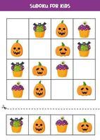 jeu de logique sudoku avec des cupcakes et des citrouilles d'halloween. vecteur