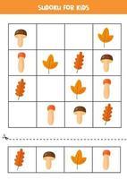 sudoku pour les enfants avec des champignons et des feuilles d'automne. vecteur