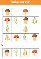 puzzle sudoku pour les enfants. ensemble de feuilles d'automne et de champignons. vecteur