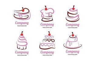 concept de logo de gâteau mignon vecteur