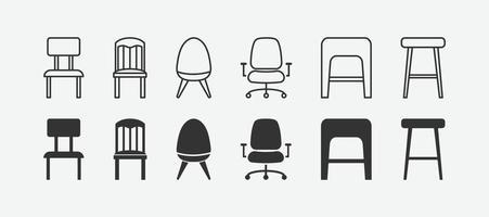 illustration vectorielle de jeu d'icônes de chaise isolé. vecteur