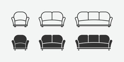 illustration vectorielle de jeu d'icônes isolé canapé. vecteur