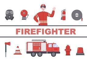 pompiers avec des camions d'incendie, aidant les personnes et les animaux, utilisant du matériel de sauvetage dans diverses situations illustration vectorielle vecteur