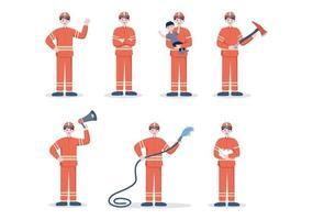 pompiers avec des camions d'incendie, aidant les personnes et les animaux, utilisant du matériel de sauvetage dans diverses situations. illustration vectorielle vecteur