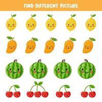 trouvez des fruits différents des autres. vecteur