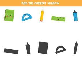 trouver la bonne ombre de la papeterie scolaire. vecteur