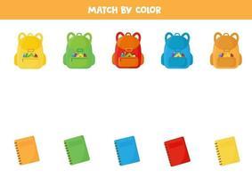 assortissez le sac à dos et le cahier d'école par couleur. vecteur