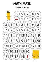 labyrinthe de mathématiques pour les enfants. joli surligneur et cahier kawaii. vecteur