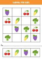 sudoku avec des fruits et légumes de dessin animé mignon. vecteur