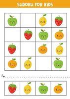 sudoku pour les enfants avec une jolie pomme kawaii, une orange, une fraise et un citron. vecteur