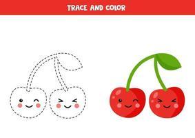 tracez et coloriez de jolies cerises kawaii. pratique de l'écriture manuscrite pour les enfants. vecteur