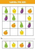 sudoku pour les enfants avec de jolis fruits kawaii. vecteur