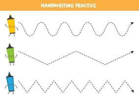 tracez les lignes avec de jolis surligneurs kawaii. feuille de calcul d'écriture manuscrite. vecteur