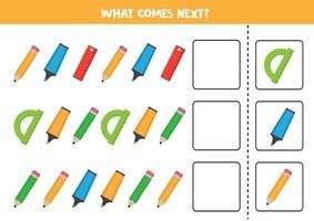 jeu logique avec crayons, surligneurs et règles. continuez la séquence. vecteur