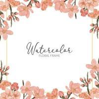 cadre carré de fleur de printemps aquarelle fleur de cerisier vecteur