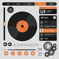 Contrôle de musique audio Ui vecteur