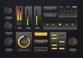 Interface de contrôle de musique audio dans un style réaliste dans le thème sombre. vecteur