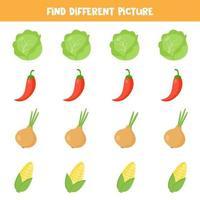 trouver une image différente dans chaque rangée. ensemble de légumes colorés. vecteur