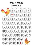 labyrinthe mathématique de un à seize ans. coq et poule de dessin animé mignon. vecteur