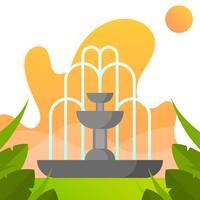 Fontaine plate avec illustration de vecteur de fond dégradé parc