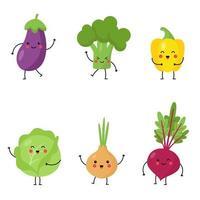 collection de légumes kawaii mignons sur fond blanc. vecteur