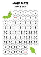 jeu mathématique pour les enfants. chenille de dessin animé mignon. vecteur