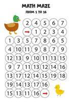 labyrinthe mathématique de un à seize ans. canard et canard de dessin animé mignon. vecteur