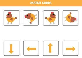 orientation pour les enfants. cartes de match avec des flèches et une poule mignonne. vecteur