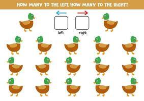 combien de canards vont à gauche et à droite. vecteur