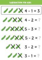 soustraction pour les enfants. concombres de dessin animé. jeu de maths. vecteur