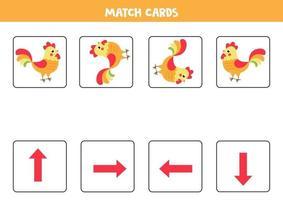 orientation pour les enfants. cartes de match avec des flèches et un coq mignon. vecteur