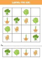 sudoku pour les enfants avec de jolis légumes kawaii. vecteur