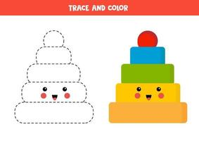 tracez et coloriez la jolie pyramide kawaii. jeu éducatif pour les enfants. vecteur
