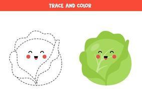 tracez et coloriez le chou kawaii mignon. coloriage pour les enfants. vecteur