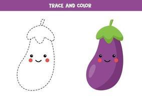 tracez et coloriez l'aubergine kawaii mignonne. compétences en écriture. vecteur