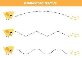 pratiquer les compétences d'écriture. poulet de dessin animé mignon. feuille de travail éducative pour les enfants. vecteur
