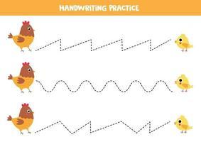 tracez les lignes entre la poule de dessin animé et le poulet. vecteur