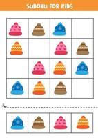 puzzle logique pour les enfants. sudoku avec des bonnets d'hiver. vecteur