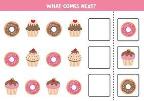 ce qui vient ensuite avec les beignets et les muffins de dessin animé. vecteur