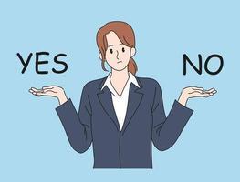 une femme en costume lève les deux mains et fait un choix. illustrations de conception de vecteur de style dessiné à la main.