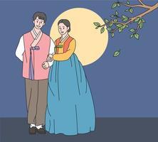 un couple en vêtements traditionnels coréens se tient debout et il y a une grande lune en arrière-plan. illustrations de conception de vecteur de style dessiné à la main.