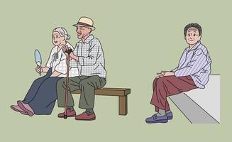les vieux coréens sont assis sur un banc. illustrations de conception de vecteur de style dessiné à la main.