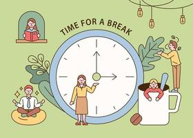 les gens ayant l'heure de la pause thé. les gens lisent, méditent, boivent du thé et se détendent. illustration vectorielle minimale de style design plat. vecteur