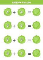 addition avec chou de bande dessinée. jeu de mathématiques pour les enfants. vecteur