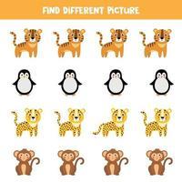 trouver un animal différent dans chaque rangée. singe de dessin animé mignon, tigre, léopard, pingouin. vecteur
