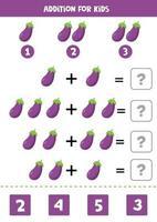 ajout pour les enfants avec des aubergines violettes de dessin animé mignon. vecteur